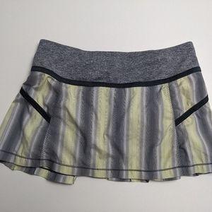 Lululemon Run Reflection Skirt Green Stripe 8